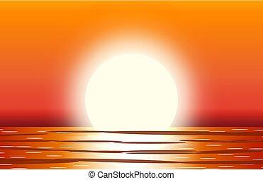 Sol con reflejo en el agua.