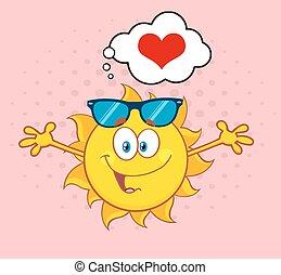Sol de amor con corazón