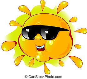 Sol de cartón con gafas de sol