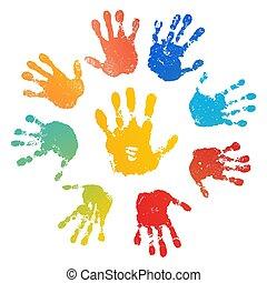 Sol de impresión arcoíris, aislado en el fondo blanco. La huella de un niño de color. Pintura creativa. Feliz diseño de la infancia. Niños artísticos sello, dedos humanos brillantes, palma. Ilustración de vectores