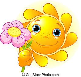 Sol de verano con flores