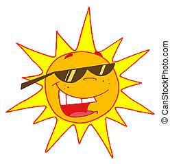 Sol de verano con gafas de sol