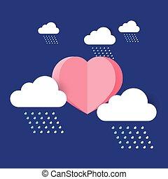 Sol del corazón con nubes de lluvia.