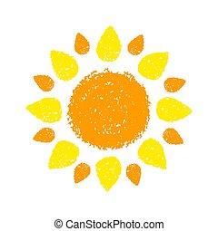 Sol dibujado a mano pintado con crayones pastel