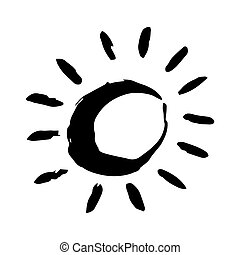 Sol dibujado a mano pintado con pincel de tinta