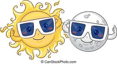sol, eclipse, luna, solar, anteojos, mascota