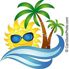 Sol en onda y diseño de palmas