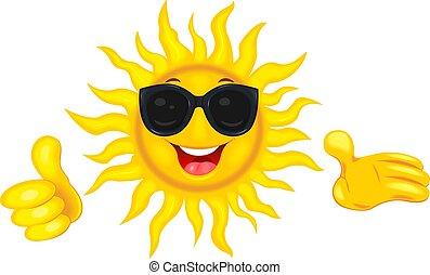 Sol feliz con gafas de sol