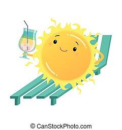 Sol feliz sosteniendo el sol en la cama solar con ilustración de cóctel