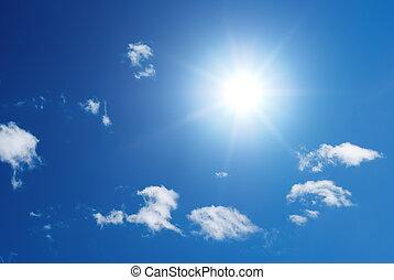 sol, hinchado, nubes