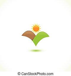 sol, icono, montañas, logotipo