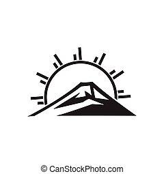 sol, logotipo, montaña, vector, monogram, rayos