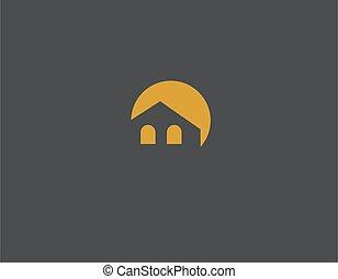sol, logotipo, o, construcción, casa, silueta, compañía, creativo, luna