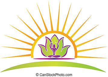Sol, loto y figura de yoga