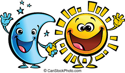 sol, luna, caracteres, bebé, amigos, caricatura, mejor