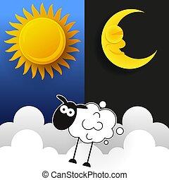 Sol, luna y estrellas. Estandartes de vectores de día y noche.