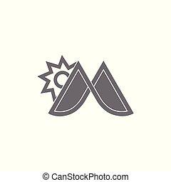 sol, montaña, m, vector, logotipo, carta
