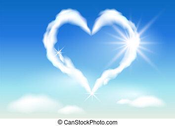 sol, nube, corazón