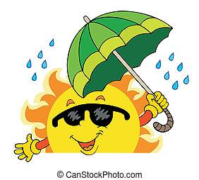 Sol oscuro con gran paraguas