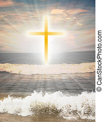 sol, religioso, brillo, cruz, contra, símbolo, cristiano