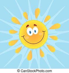 Sol sonriente con antecedentes