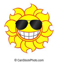 Sol sonriente usando lentes de sol