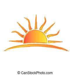sol, swirly, rayos, logotipo