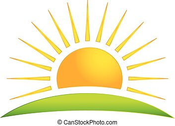 sol, vector, colina verde, logotipo, icono