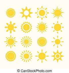 sol, vector, conjunto, icono