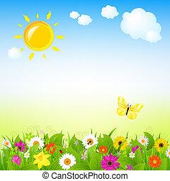 Sol y flores