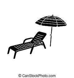 Sol y icono de sombrilla, estilo simple