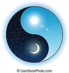 Sol y luna en símbolo de yin yang