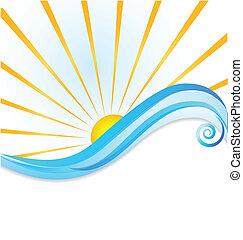 Sol y ondas logotipo
