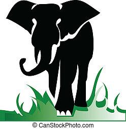 solamente, ilustración, elefante