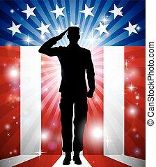 Soldado americano saluda a fondo patriótico