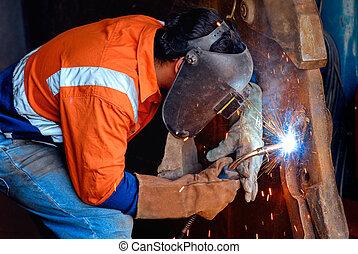 soldadura de acero industrial