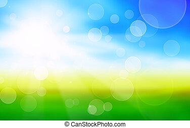Soleado fondo primaveral con campos verdes