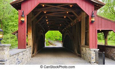 soleado, vista, cierre, puente, restaurado, cubrir, viejo, 1844, día