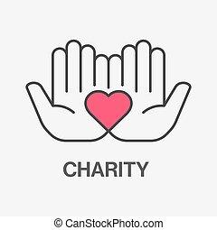 solidaridad, caridad, icon., donation., línea, ayuda, símbolo