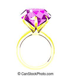 Solitario, ilustración del anillo de diamantes
