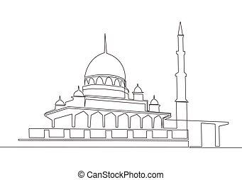 solo, continuo, línea, vector, dibujo, islámico, uno, lugar, mosque., concepto, empate, diseño, histórico, persona, o, señal, ilustración, adoración, trabaja, edificio, musulmán, antiguo, masjid