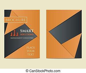 Soluciones inteligentes Brochure y folleto de diseño de talla 4 con concepto de manejo de palabras clave. Lo mejor para la empresa de consultoría, etc. Diseño geométrico único. Vector