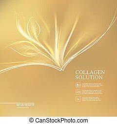 solution., dorado, colágeno, plano de fondo