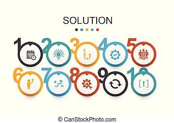Solution Infographic estrategia de diseño, plan, ejecución, horarios simples iconos