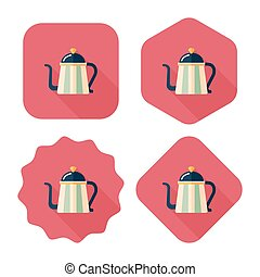 sombra, caldera, icono, eps10, café, largo, plano