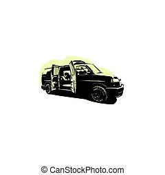 sombra, color, clipart, negro, conjunto, vector, blanco, furgoneta, coche, icono