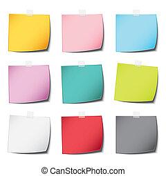 sombra, color, vendimia, aislado, nota, realista, papel, plano de fondo, multiplique, blanco, popular, poste