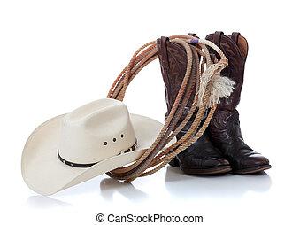 sombrero, botas de vaquero, lazo, blanco