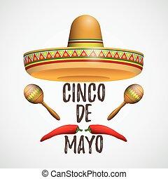 Sombrero cinco de mayo maracas chile