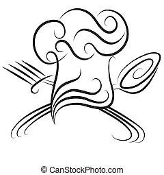 Sombrero de chef con cuchara y tenedor